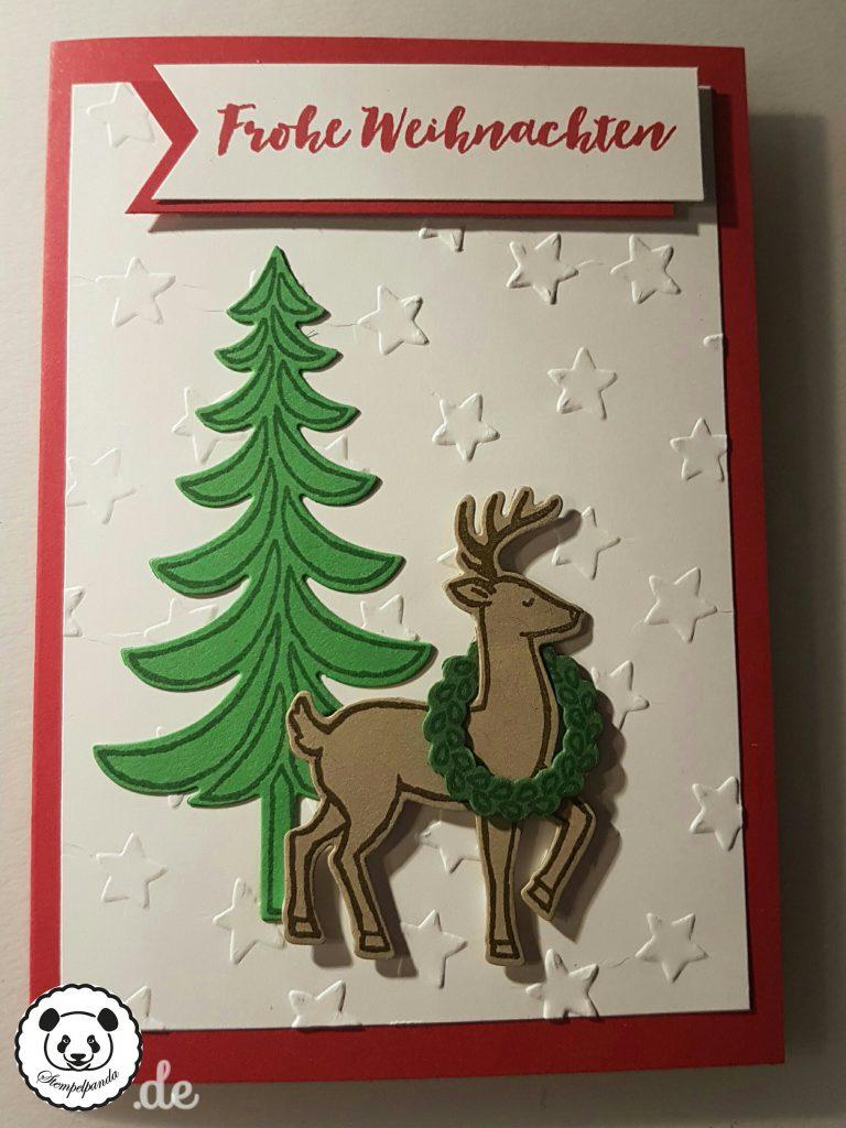 Stampin up, SU, Stempelpanda, Weihnachten, Weihnachtsschlitten, Santa's Sleigh, Prägeform Sterne