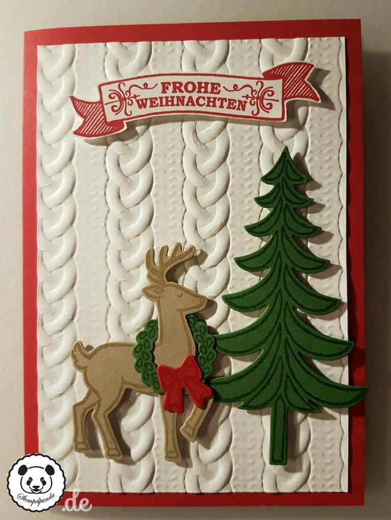Stampin up, SU, Stempelpanda, Weihnachten, Weihnachtsschlitten, Santa's Sleigh, Prägeform Zopfmuster
