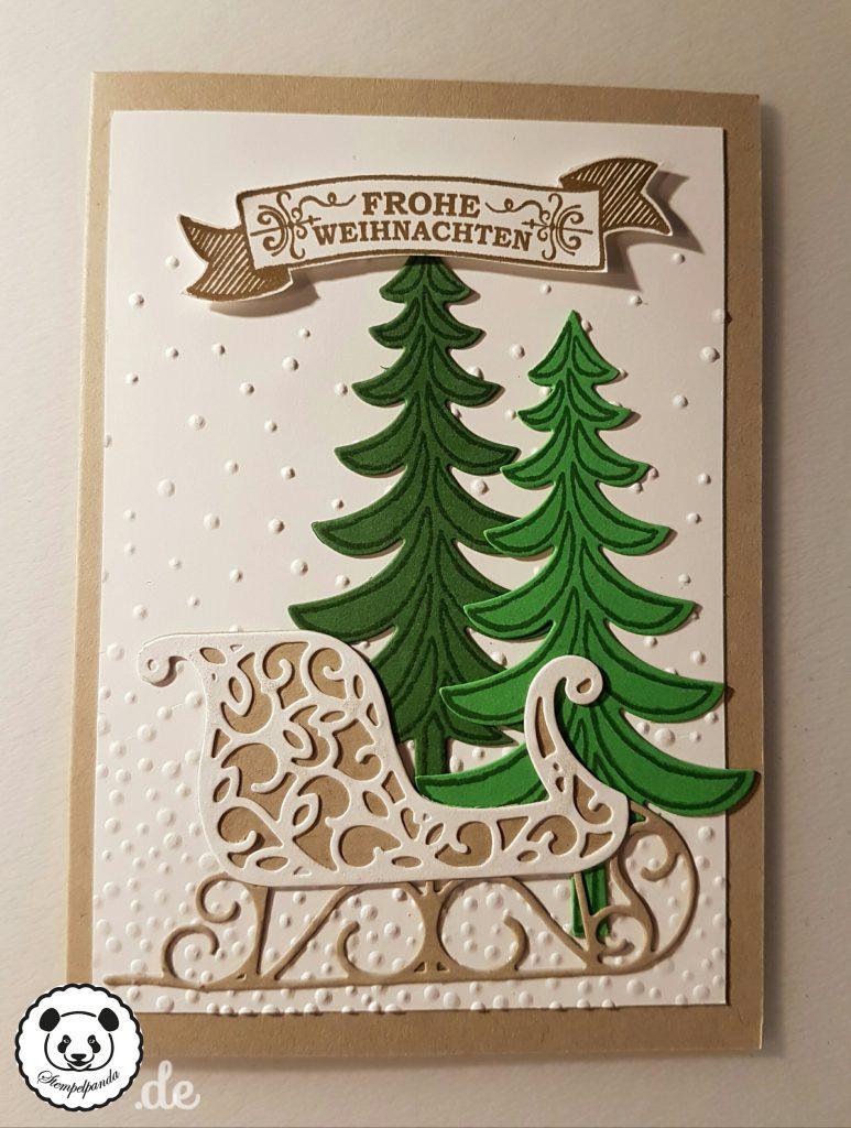 Stampin up, SU, Stempelpanda, Weihnachten, Weihnachtsschlitten, Santa's Sleigh, Prägeform Leise rieselt