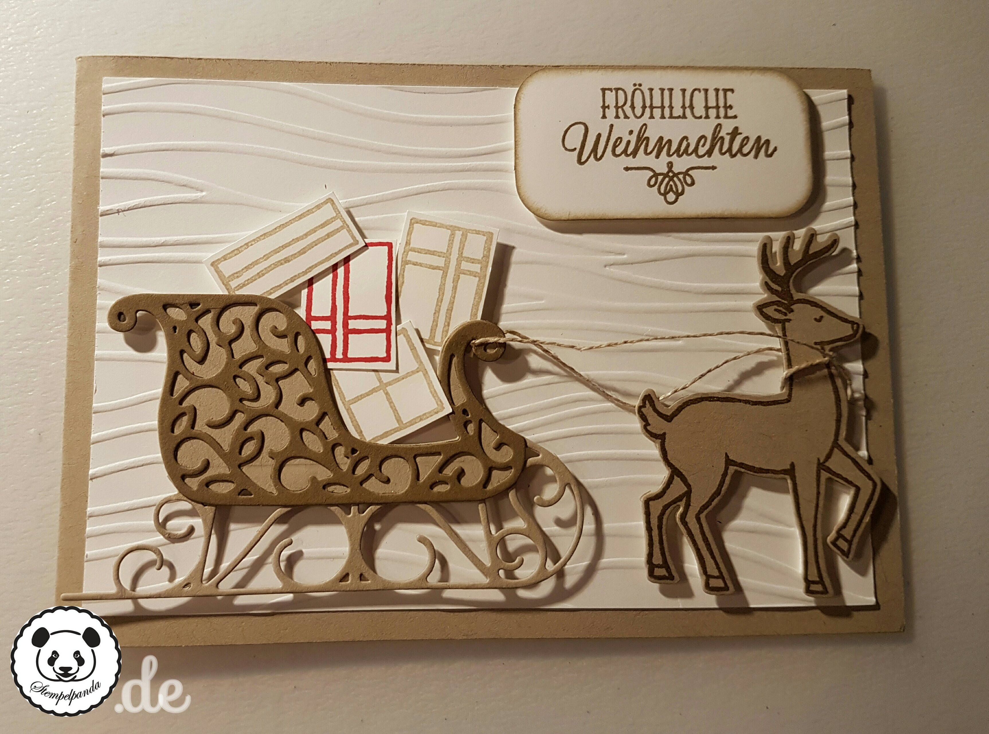 Stampin up, SU, Stempelpanda, Weihnachten, Weihnachtsschlitten, Santa's Sleigh, Prägeform Wellen
