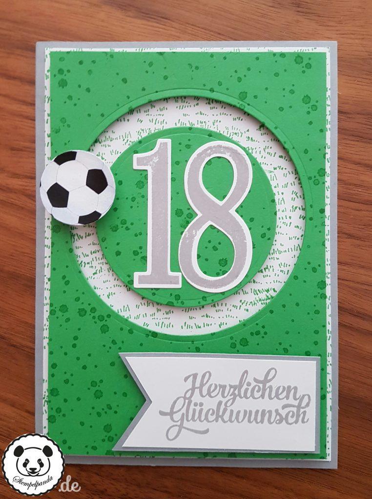 Stampin up, SU, Stempelpanda, Kullerkarte, Spinner Card, Sliding Star, Fußball, Geburtstag, 18