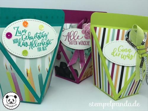 Stempelpanda, Stampin Up, SU, Perfekter Geburtstag, Perfekte Party, Picture Perfect Birthday, Selbstschließende Box, Verpackung, Anleitung