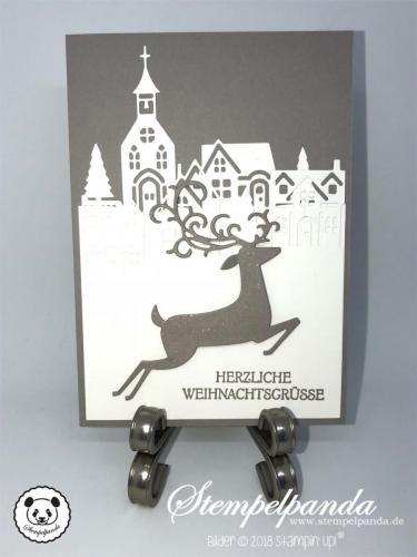 Stempelpanda, Stampin Up, SU, Weihnachtswild, Weihnachtshirsch, Dashing Deer, Detailed Deer, Winterstädtchen, Hometown Greetings, Weihnachten