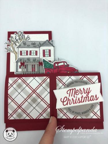 Stempelpanda, Stampin Up, SU, Blog Hop, Card in a box. Farmhouse Christmas, Anleitung